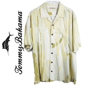 Tommy Bahama Men's Casual Yellow Camp Shirt Tan XL
